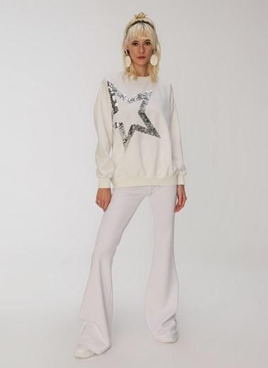 People By Fabrika Yıldız Payetli Sweatshirt Beyaz